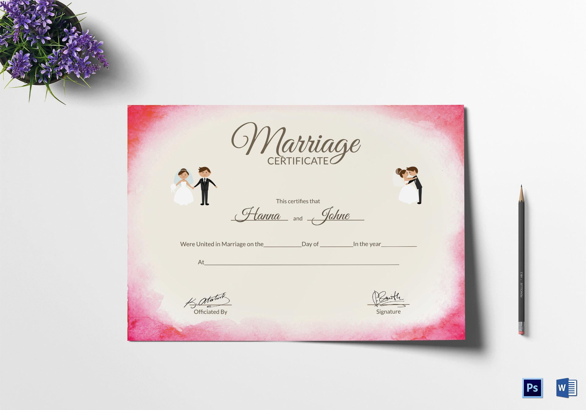 Elegant Marriage Certificate Design Template In Psd Word