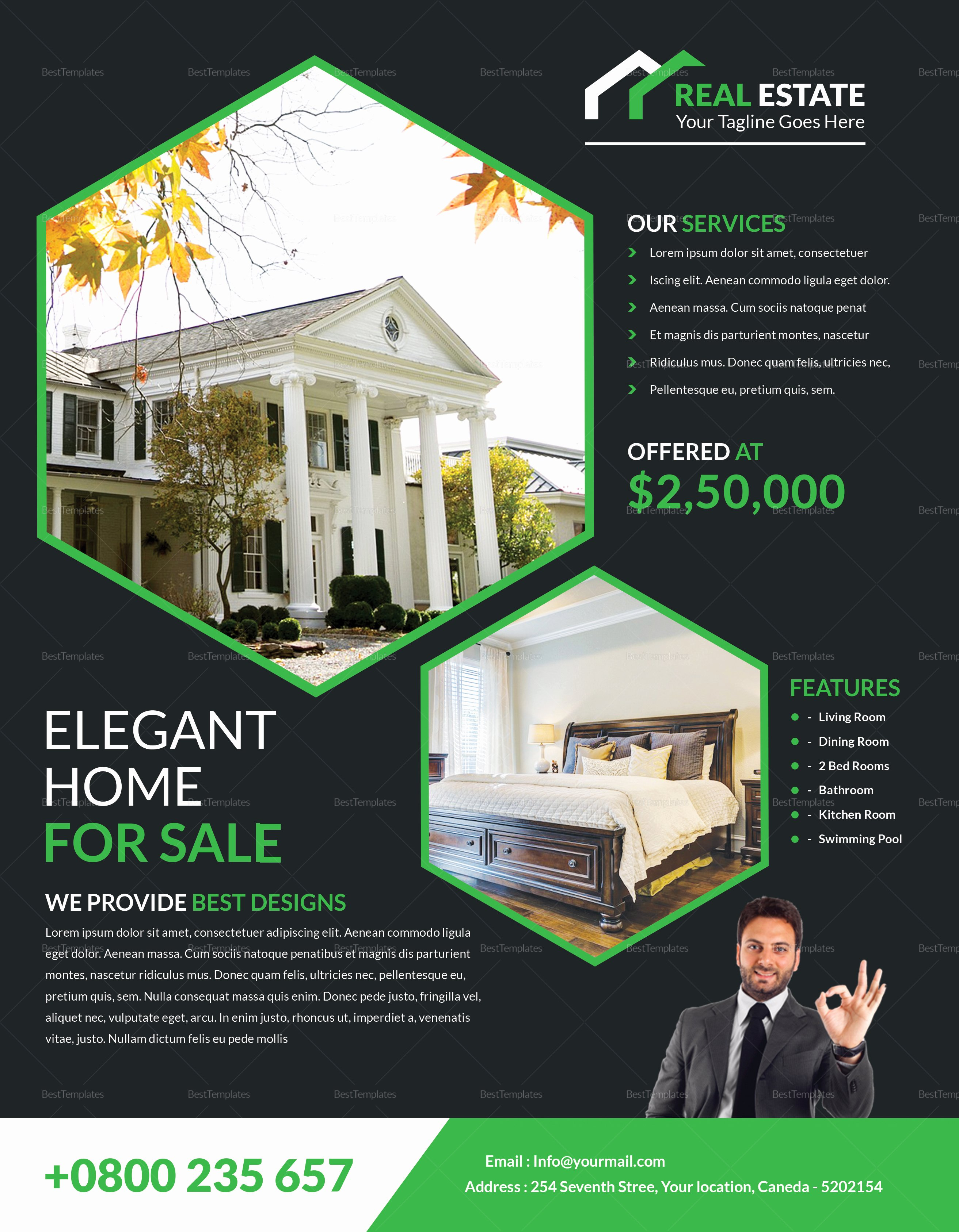 Elegant Real Estate Flyer Design Template In Word Psd