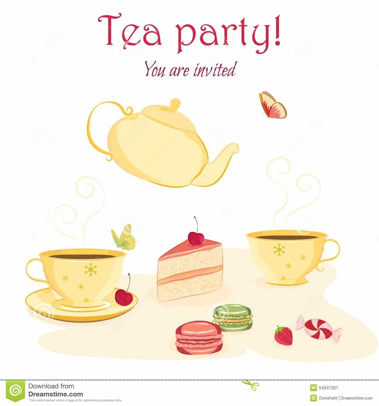 Elegant Tea Party Invitation Template with Teacups Stock