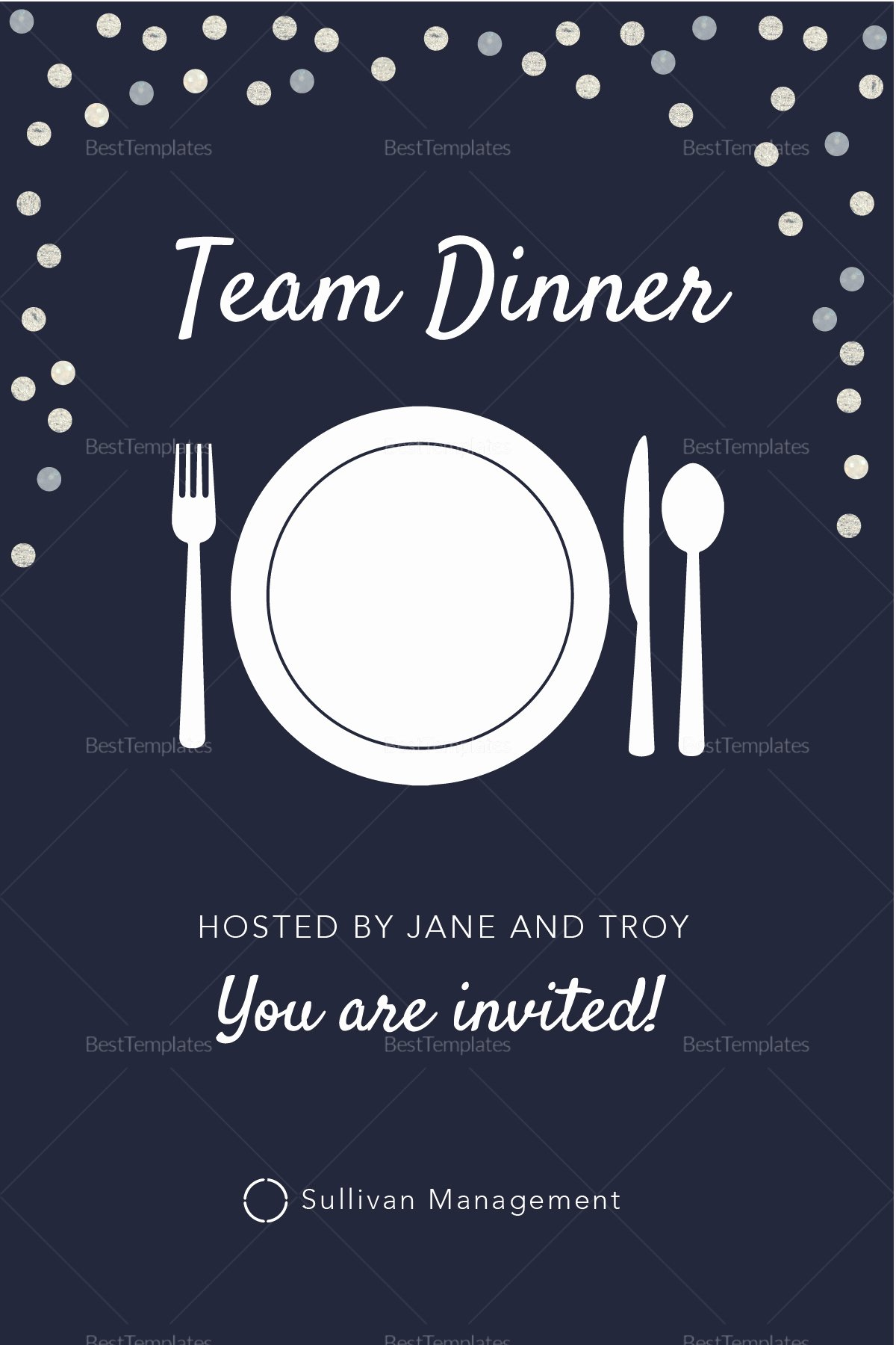 elegant team dinner invitation