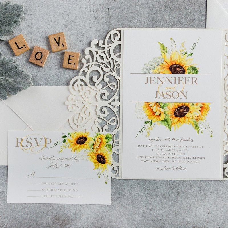 Elegant Watercolor Yellow Sunflower Laser Cut Wedding