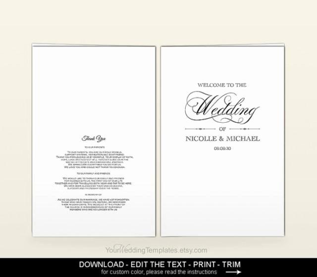 Elegant Wedding Program Template Diy Printable Editable