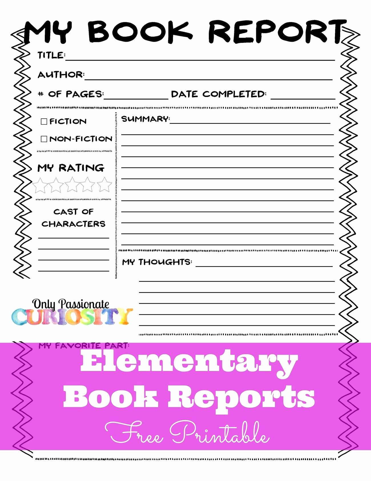Elementary Book Reports Made Easy – Ly Passionate Curiosity