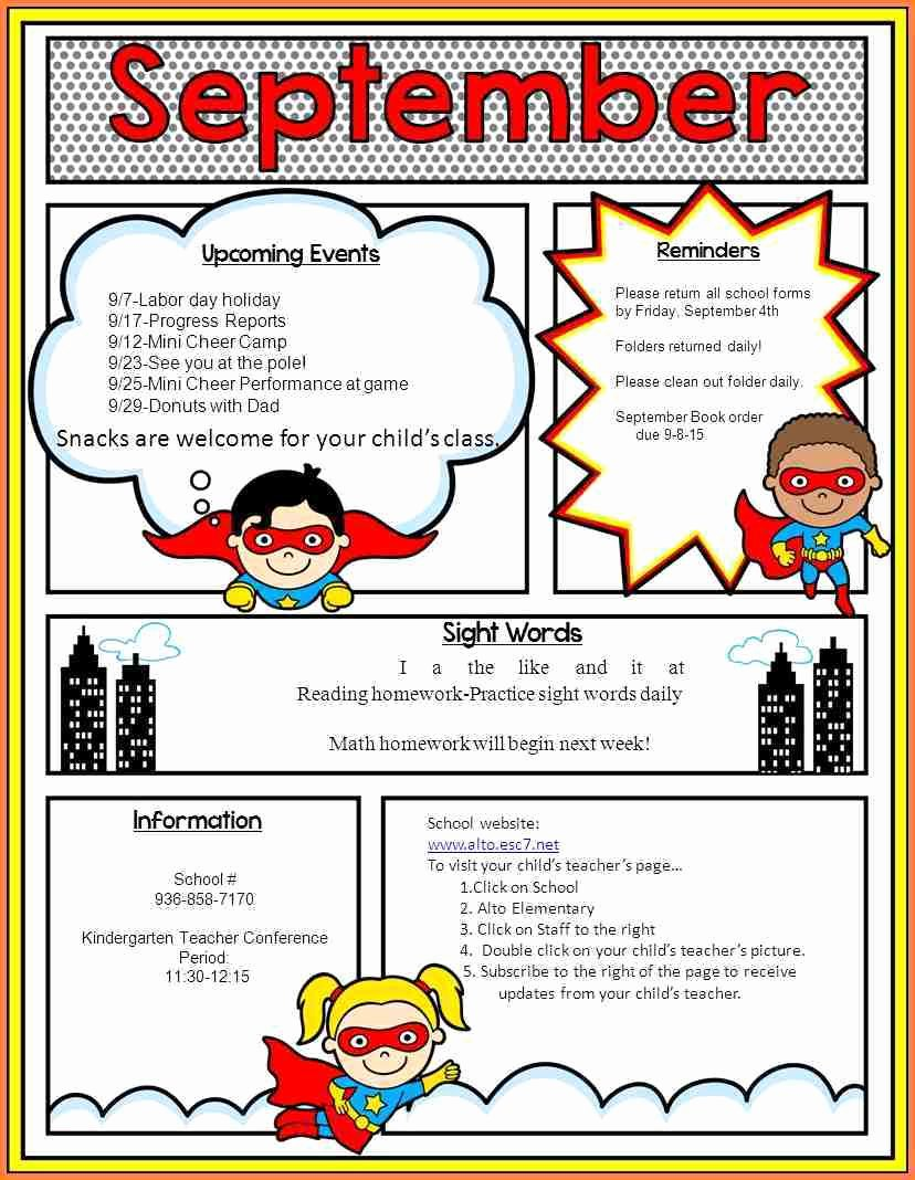 Elementary Classroom Newsletter Templates Free Templates