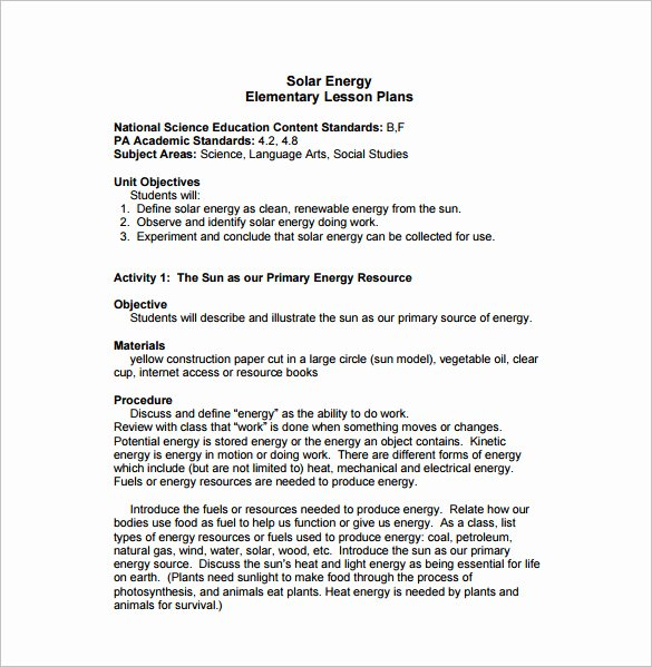 Elementary Lesson Plan Template 11 Pdf Word format
