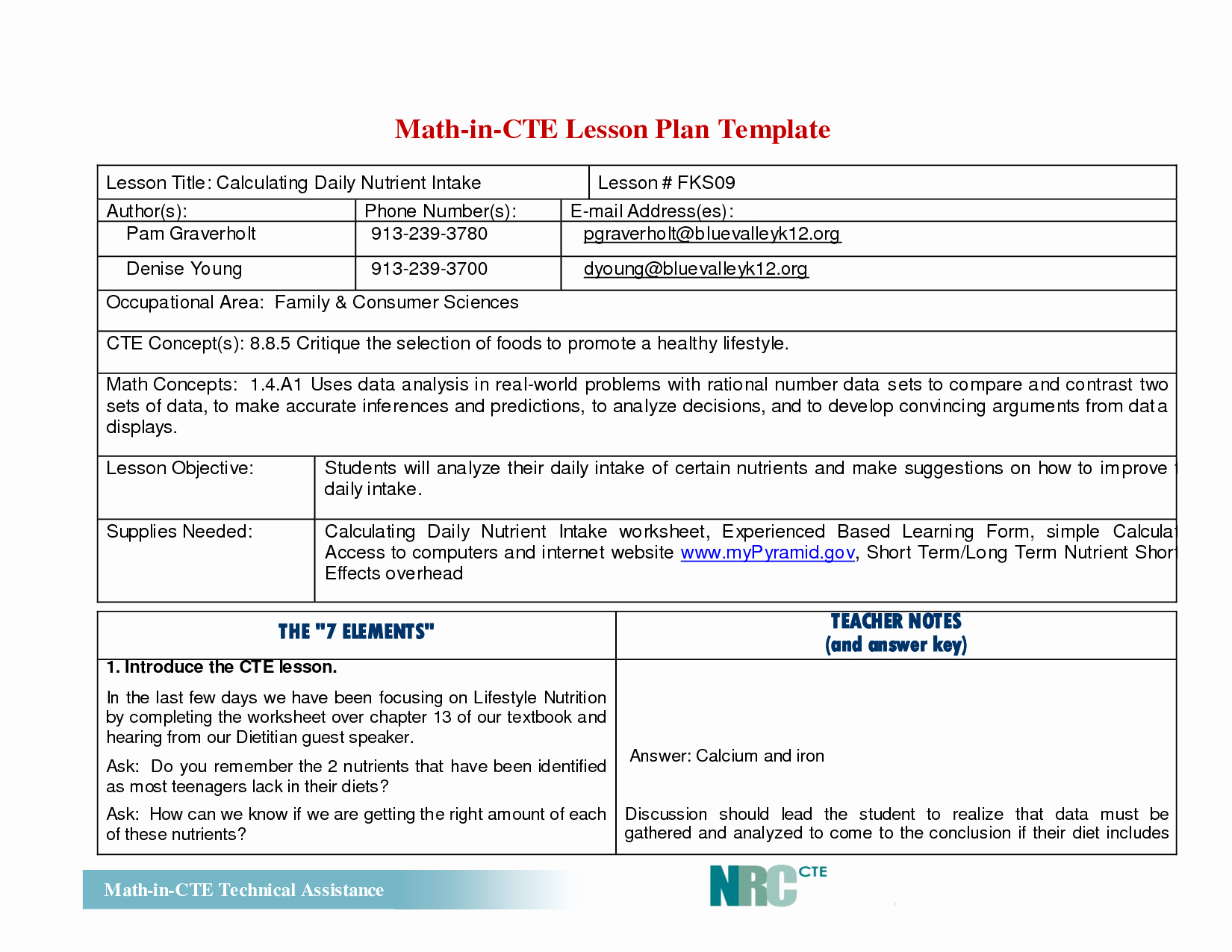 Elementary Math Lesson Plan Template Free Tlc Elementary
