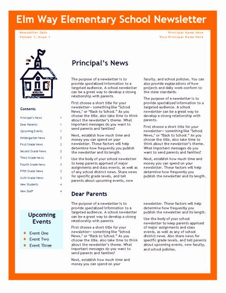 Elementary School Newsletter Fice Templates