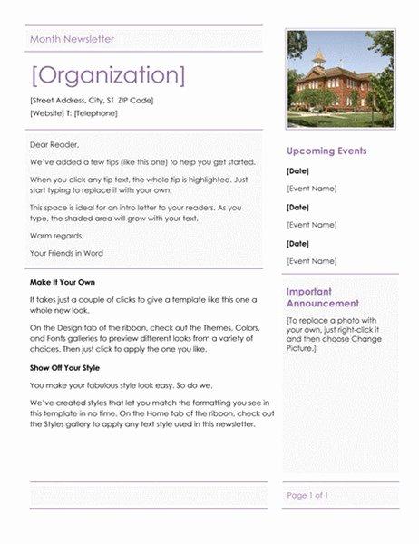 Elementary School Newsletter
