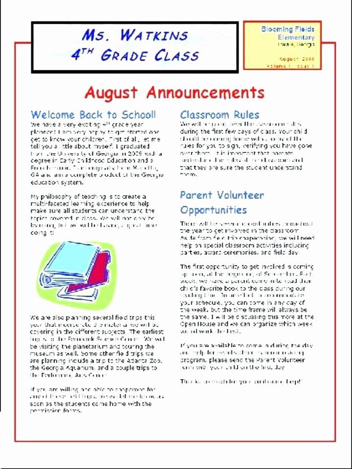 Elementary School Newsletter Template – Flirty