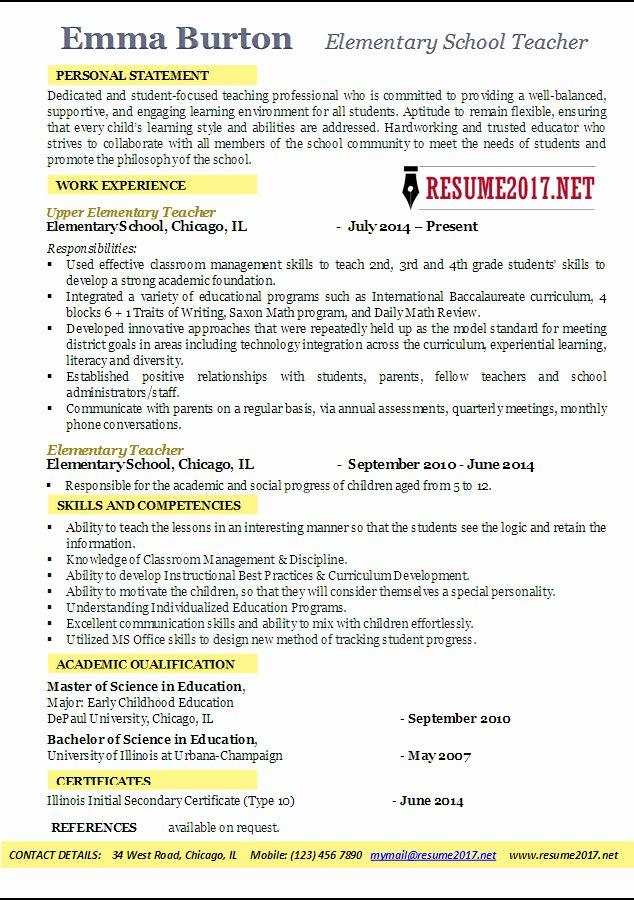 Elementary School Teacher Resume Examples 2017