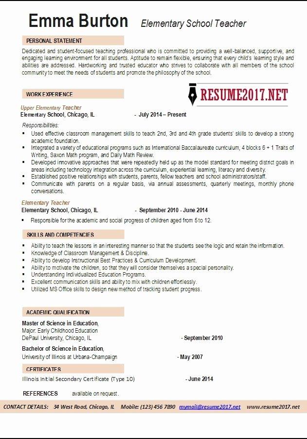 Elementary School Teacher Resume Sample Best Resume