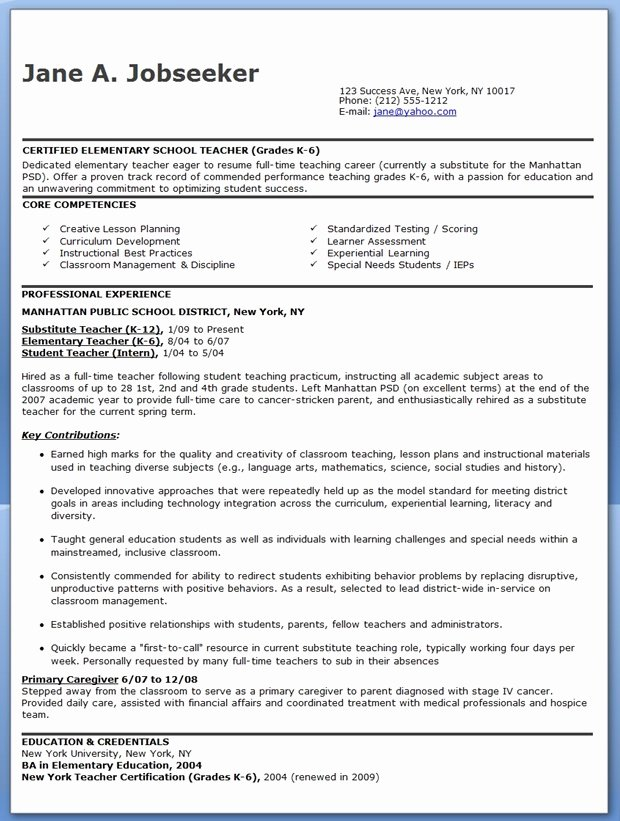 Elementary School Teacher Resume Samples Free