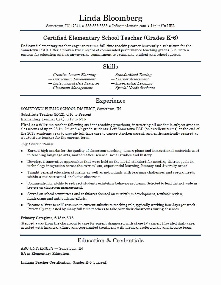 Elementary School Teacher Resume Template