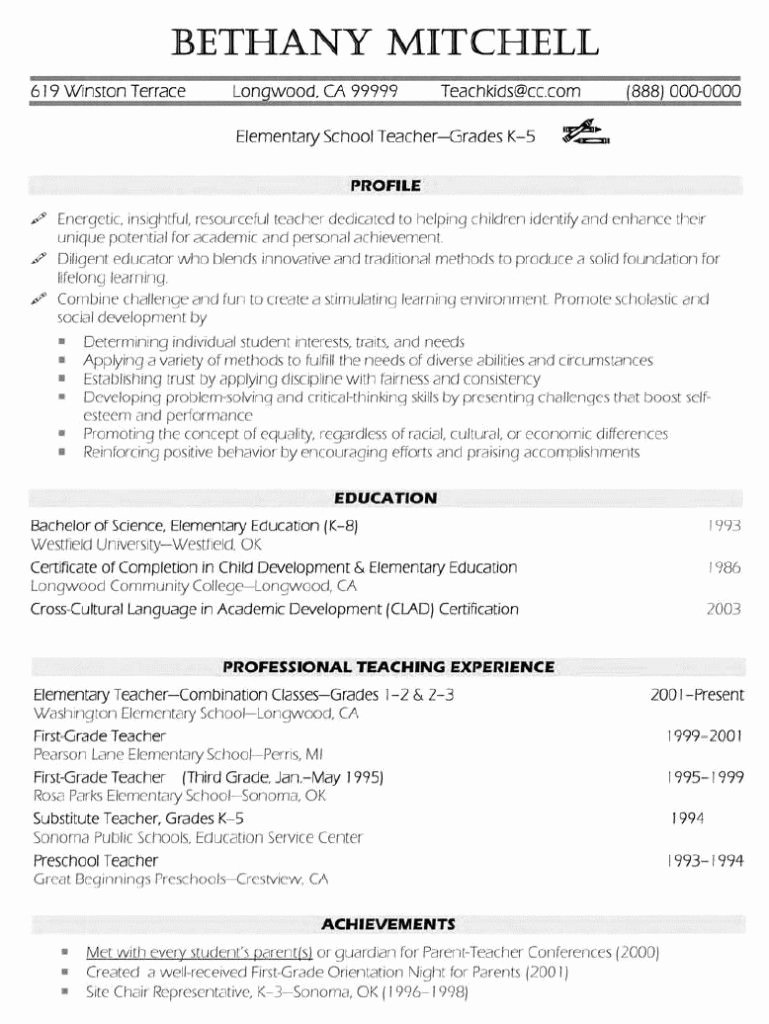 Elementary Teacher Resume Examples … Resume