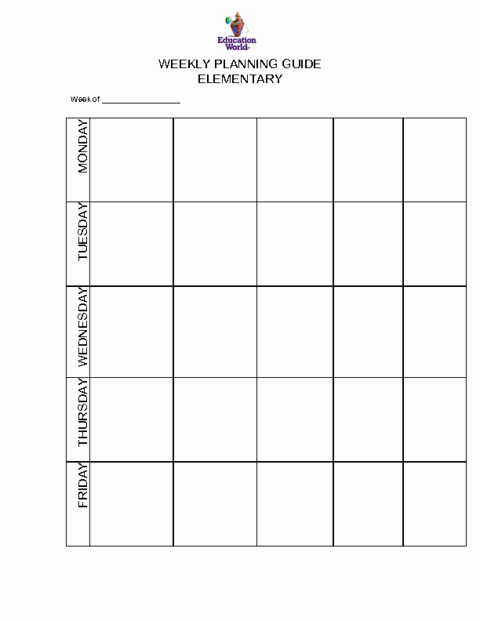 Elementary Weekly Planning Guide Template