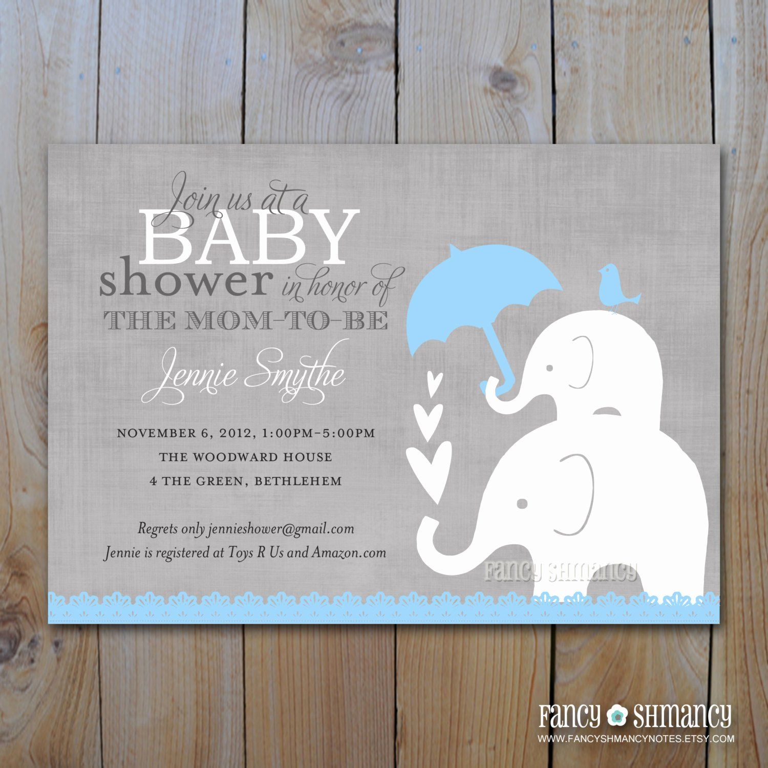 Elephant Baby Shower Invitation Image