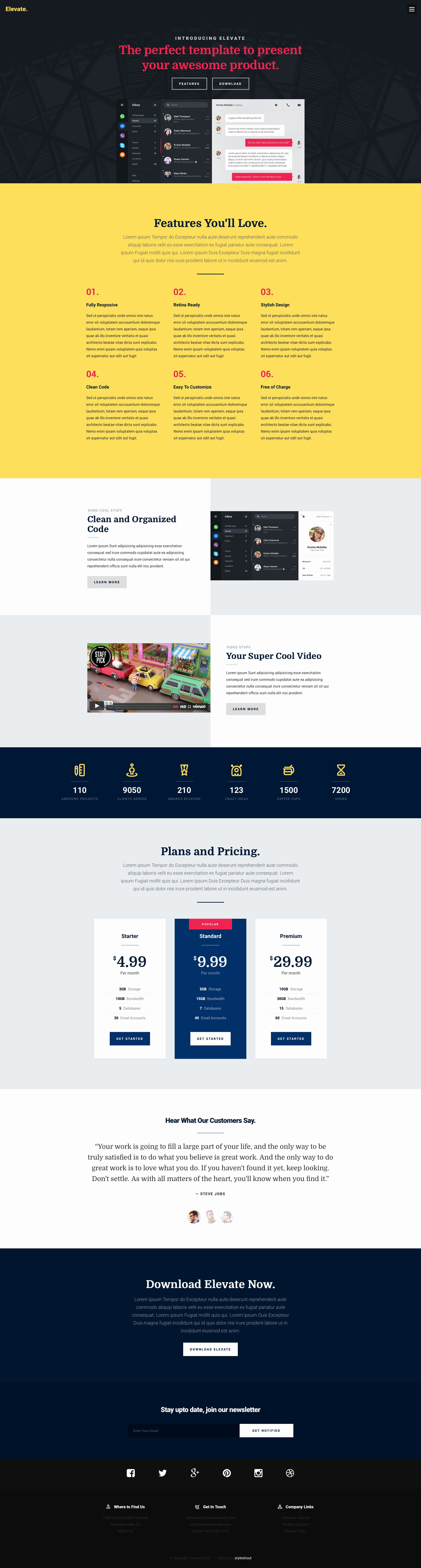 Elevate Free Responsive HTML5 Landing Page Template