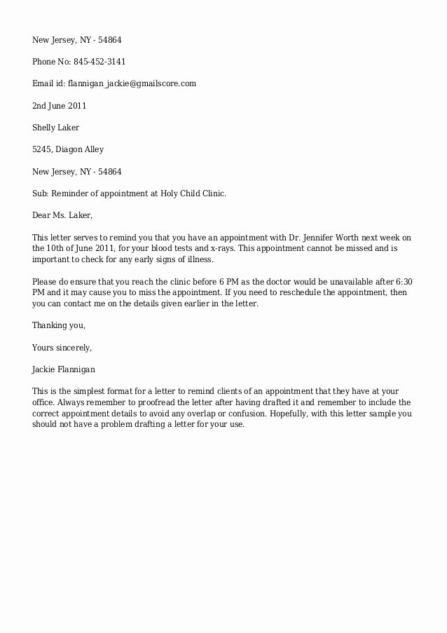 Email Appointment Reminder Template Templates Resume