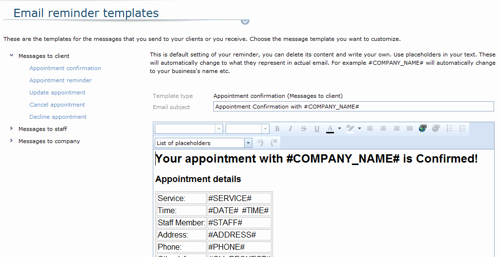 Email Appointment Reminders