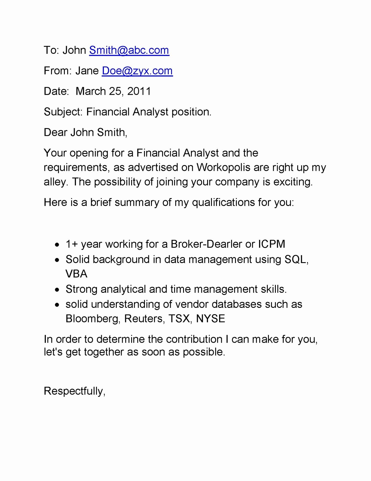 Email Cover Letter Samples Email Cover Letter for
