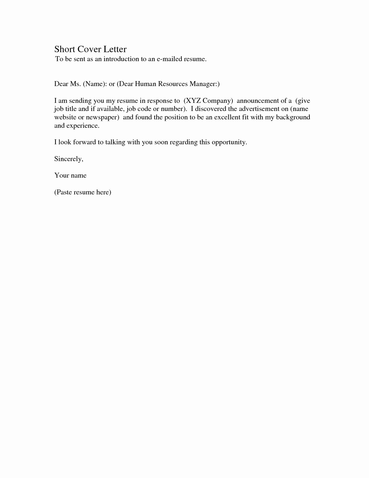 Email Resume Cover Letter Template