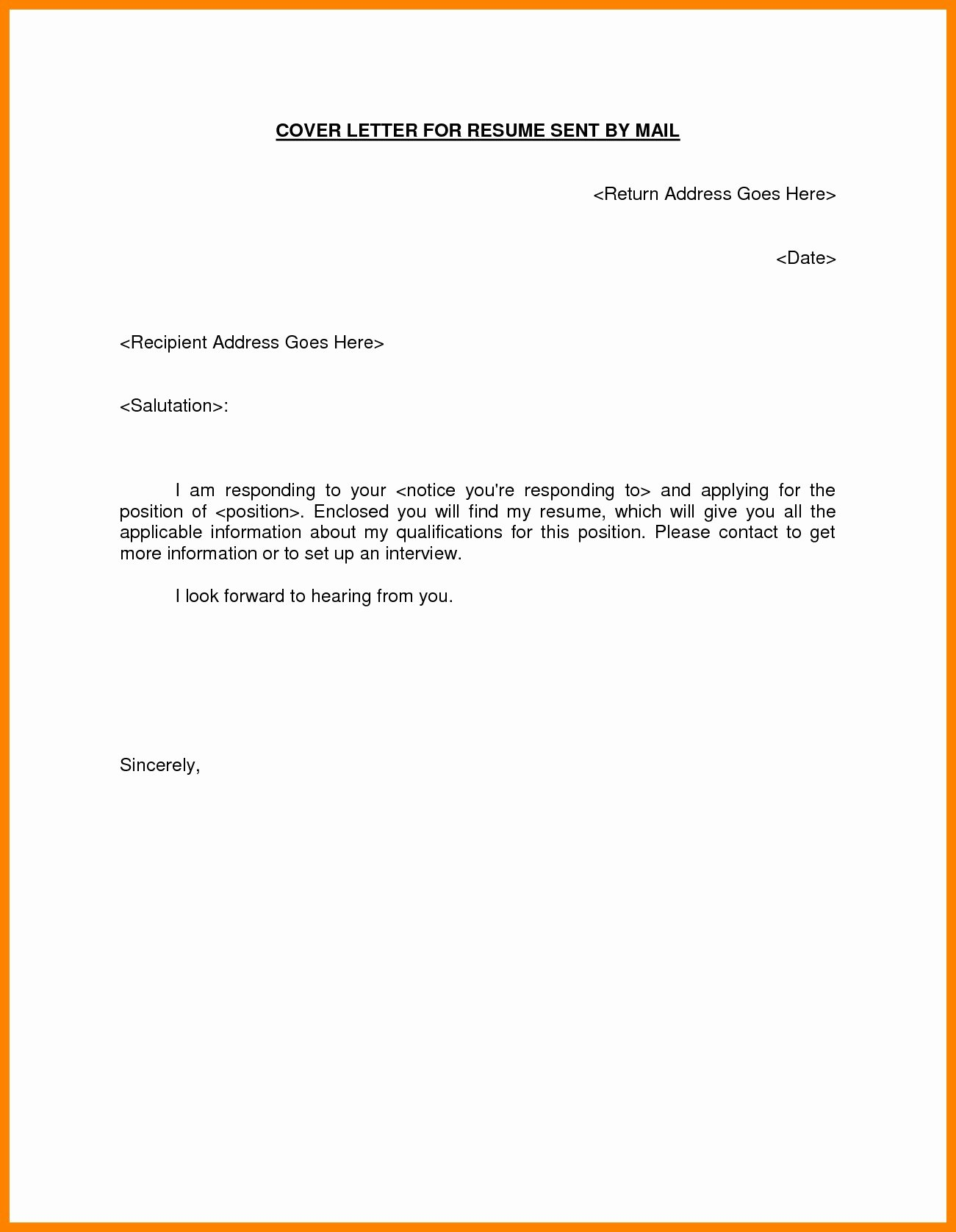 Email Templates for Sending Resumes 5 Email format for