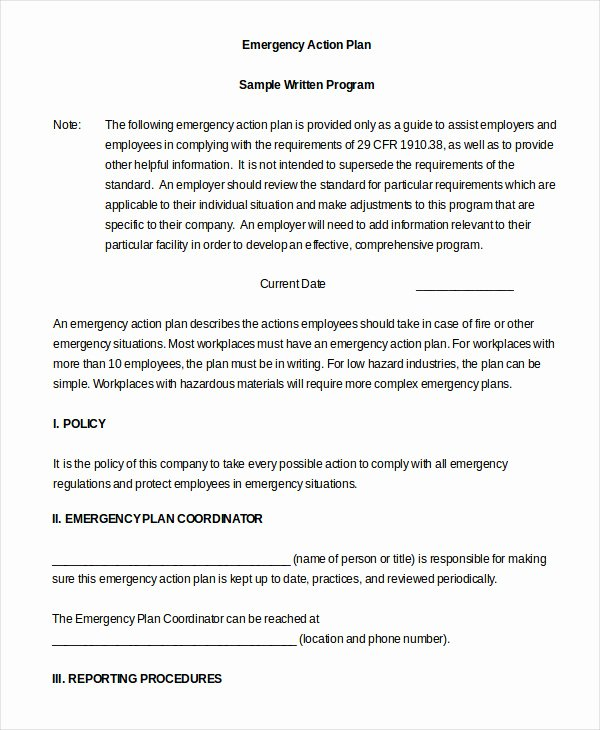 Emergency Action Plan Template 9 Free Sample Example