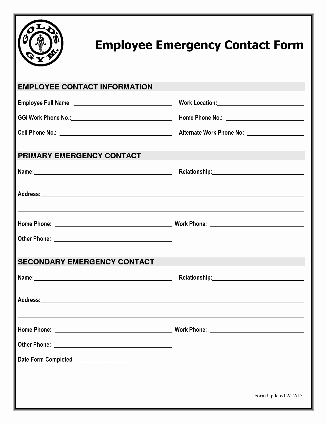 Emergency Contact form Template Free Template