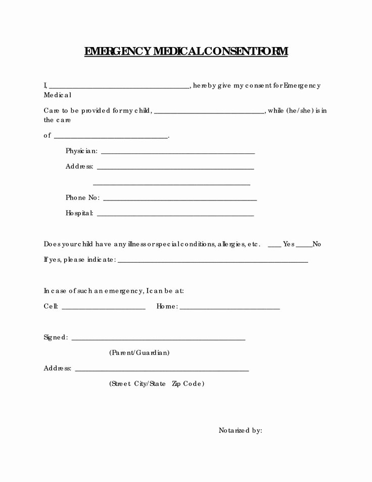 Emergency Medical Consent form Free Printable Documents