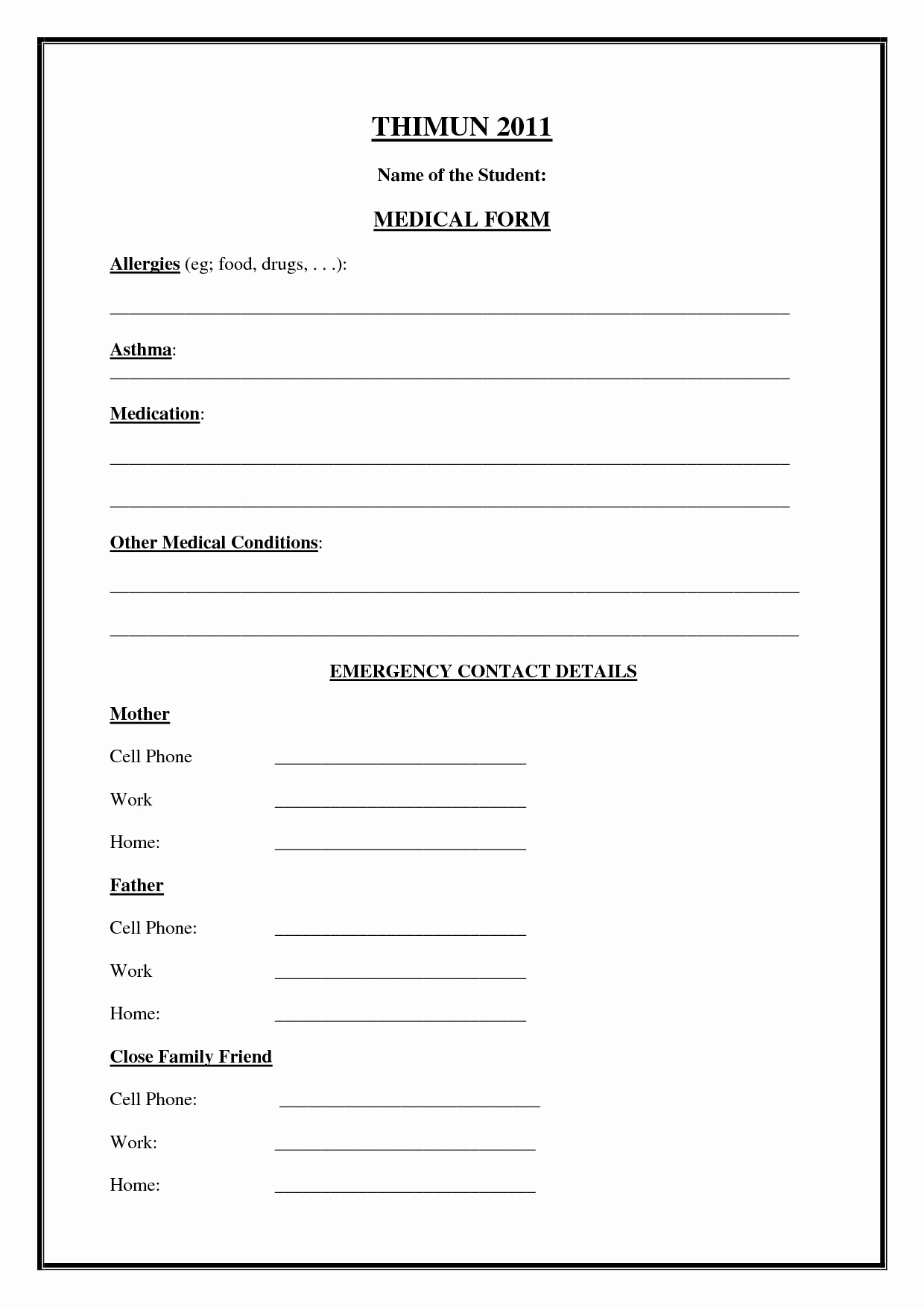 Emergency Medical form Template – Medical form Templates