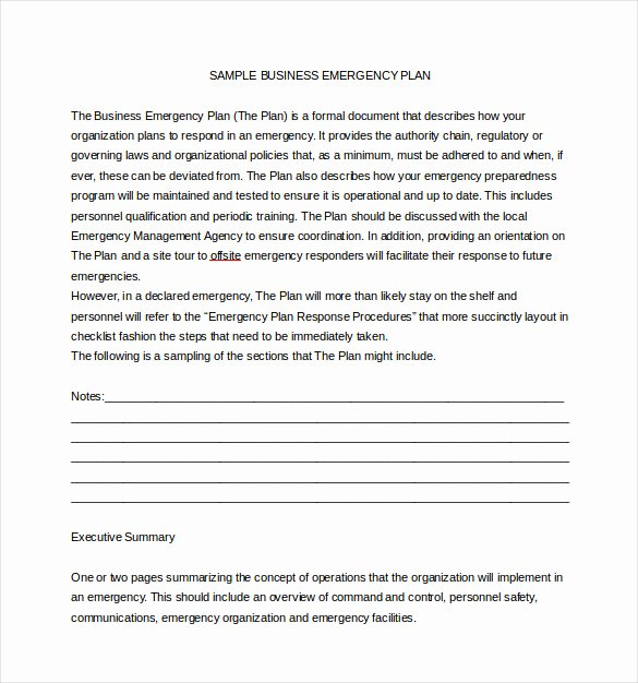 Emergency Operations Plan Template Template
