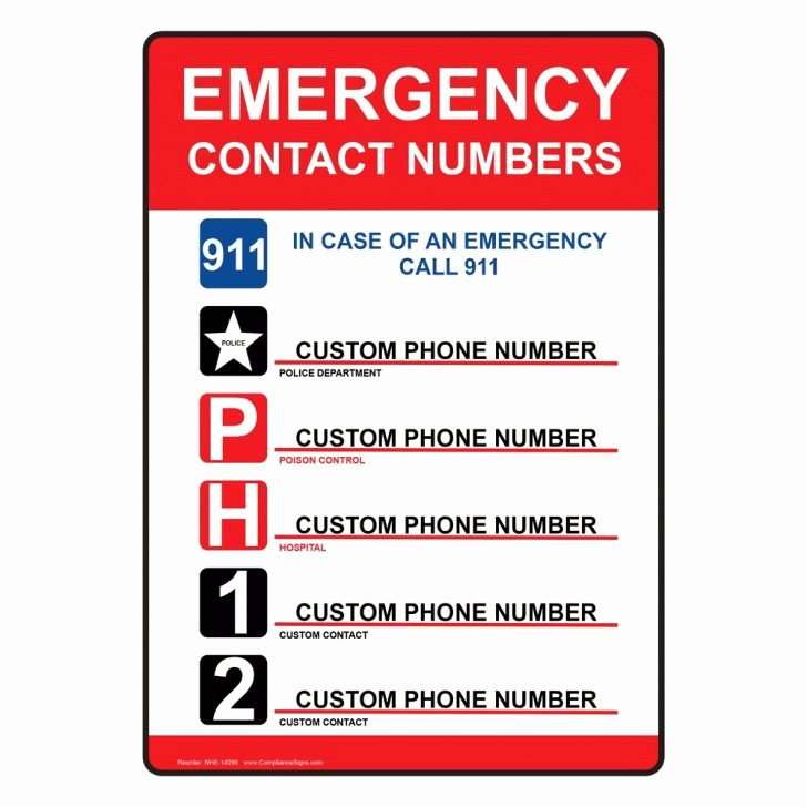 Emergency Phone Numbers List Template Coloring Pages for