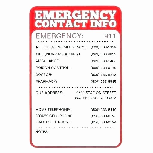 Emergency Phone Numbers Template Best Contact