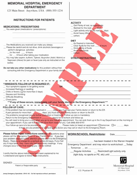 Emergency Room Discharge Summary Template Templates