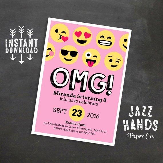 Emoji Birthday Invitation Template Pink Emoji Birthday