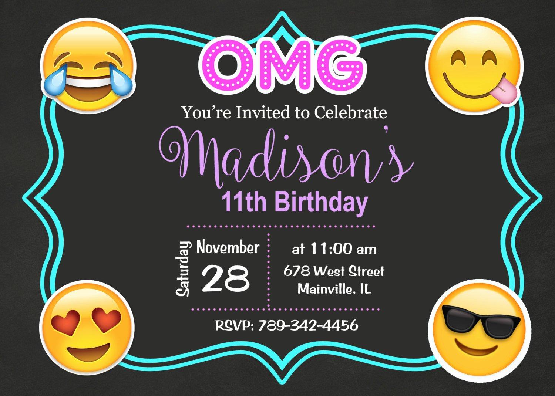 Emoji Emojicon Teen Tween Birthday Party Invitation