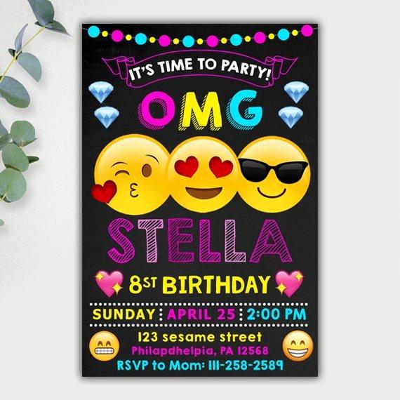 Emoji Invitations Emoji Invitation Emoji Birthday