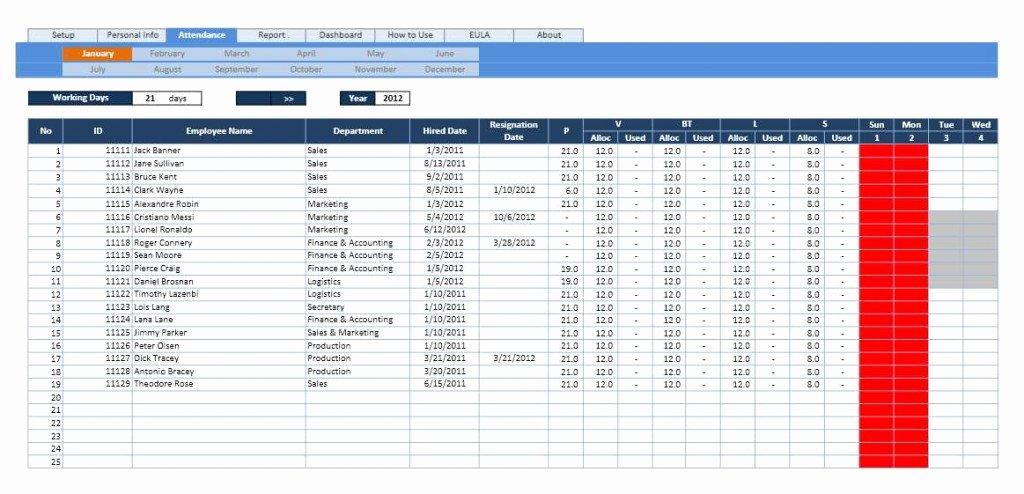 Employee attendance Calendar and Vacation Planner