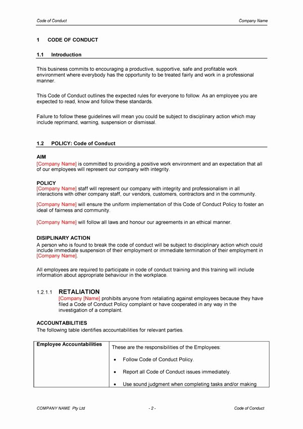 Employee Code Conduct Template Invitation Template