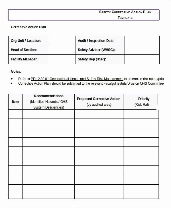 Employee Corrective Action Plan Template Free Templates