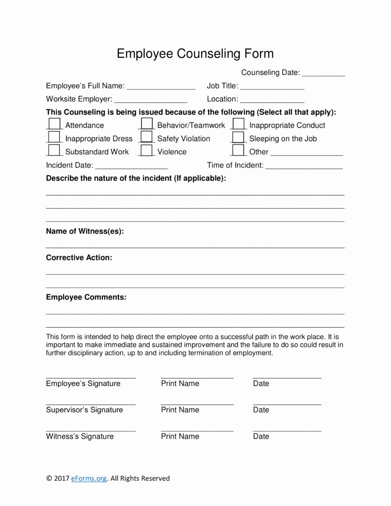 Employee Counseling form Template Templates Resume