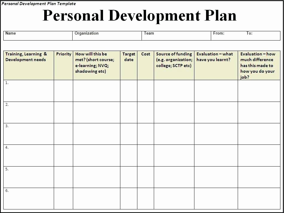 Employee Development Plan Template Free Stunning Personal