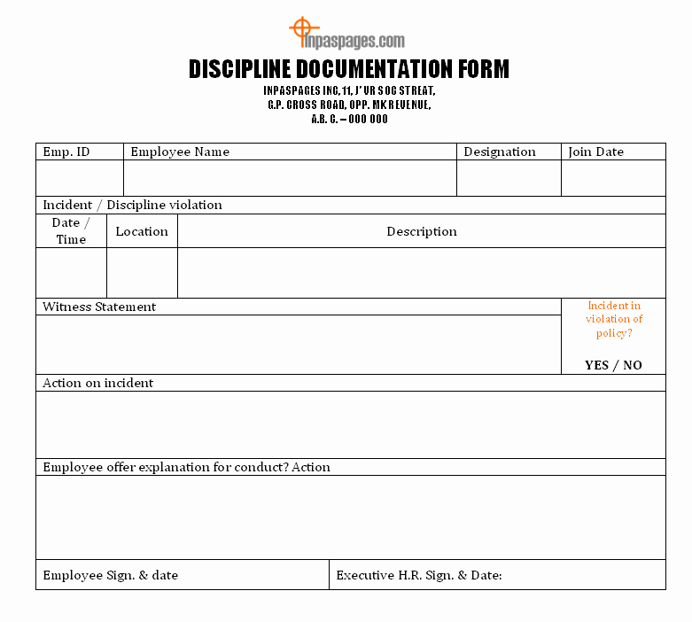 Employee Discipline forms Employee Warning forms