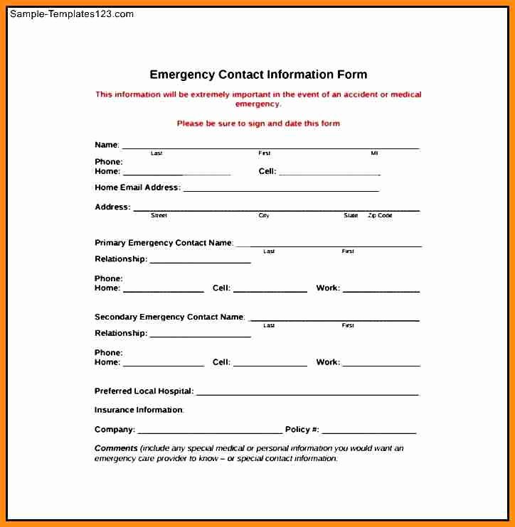 Employee Emergency Contact form Template