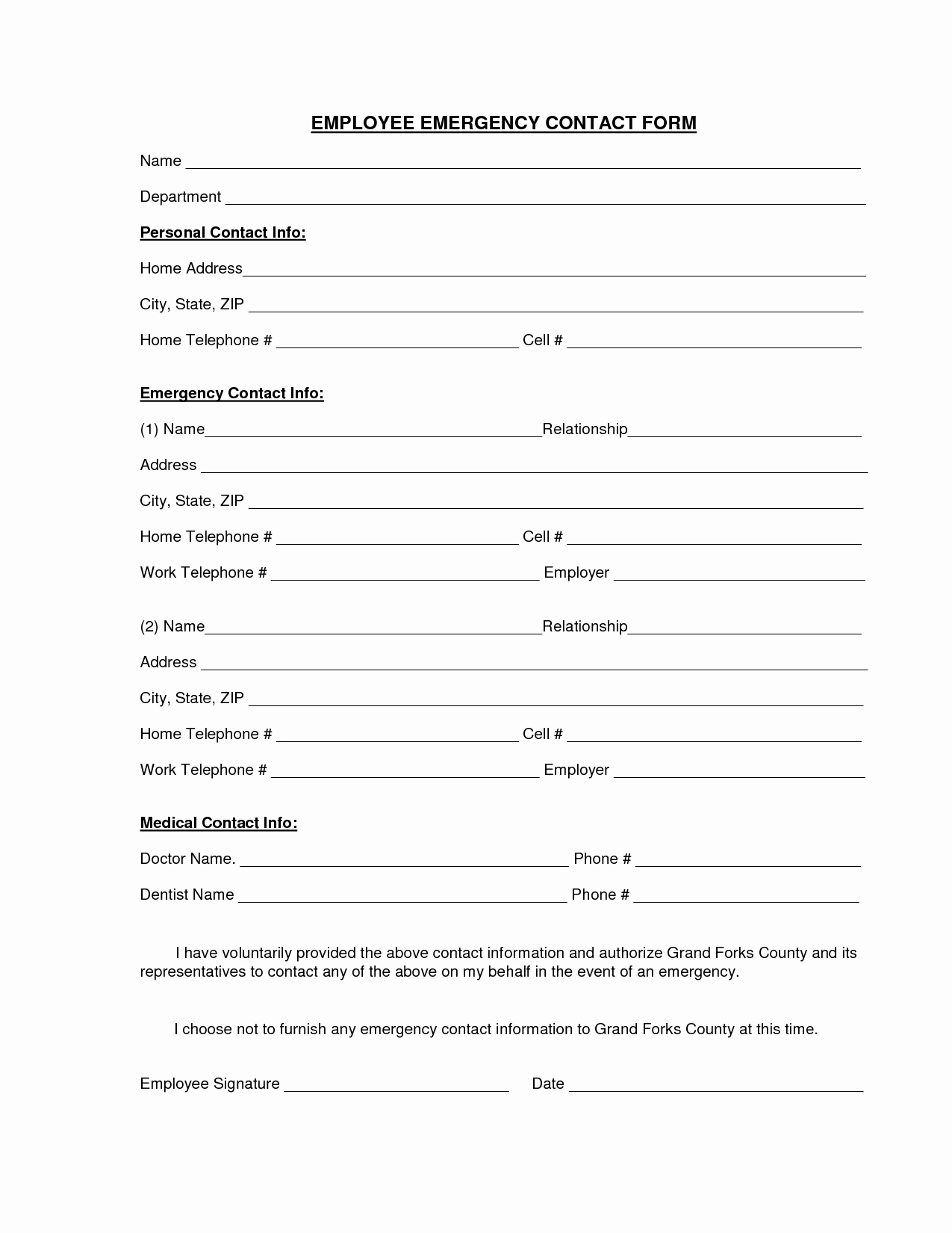 Employee Emergency Contact Printable form to Pin