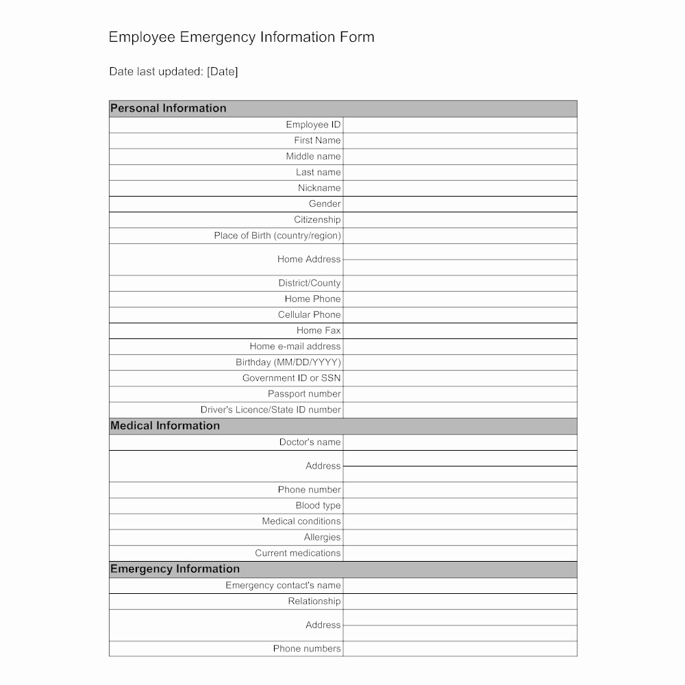 Employee Emergency Information form