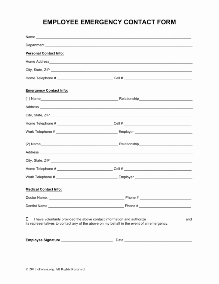 Employee Employee Emergency Contact form