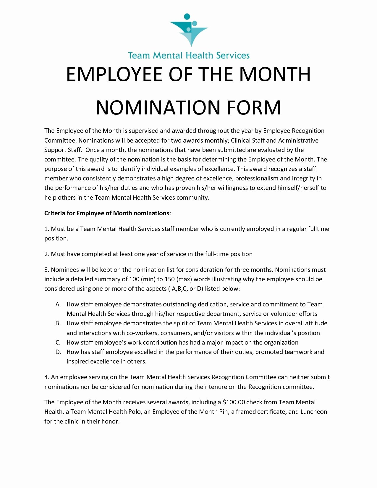 Employee Employee the Month Nomination form Design