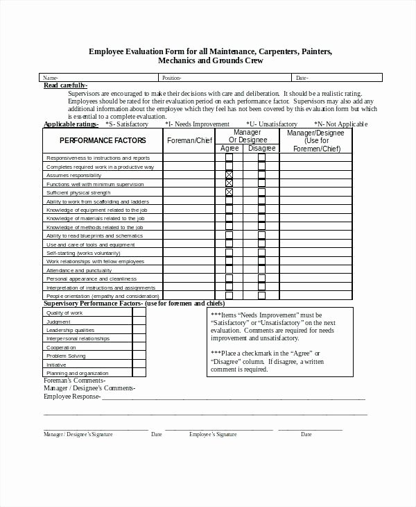 Employee Evaluation form Template Performance Example Free
