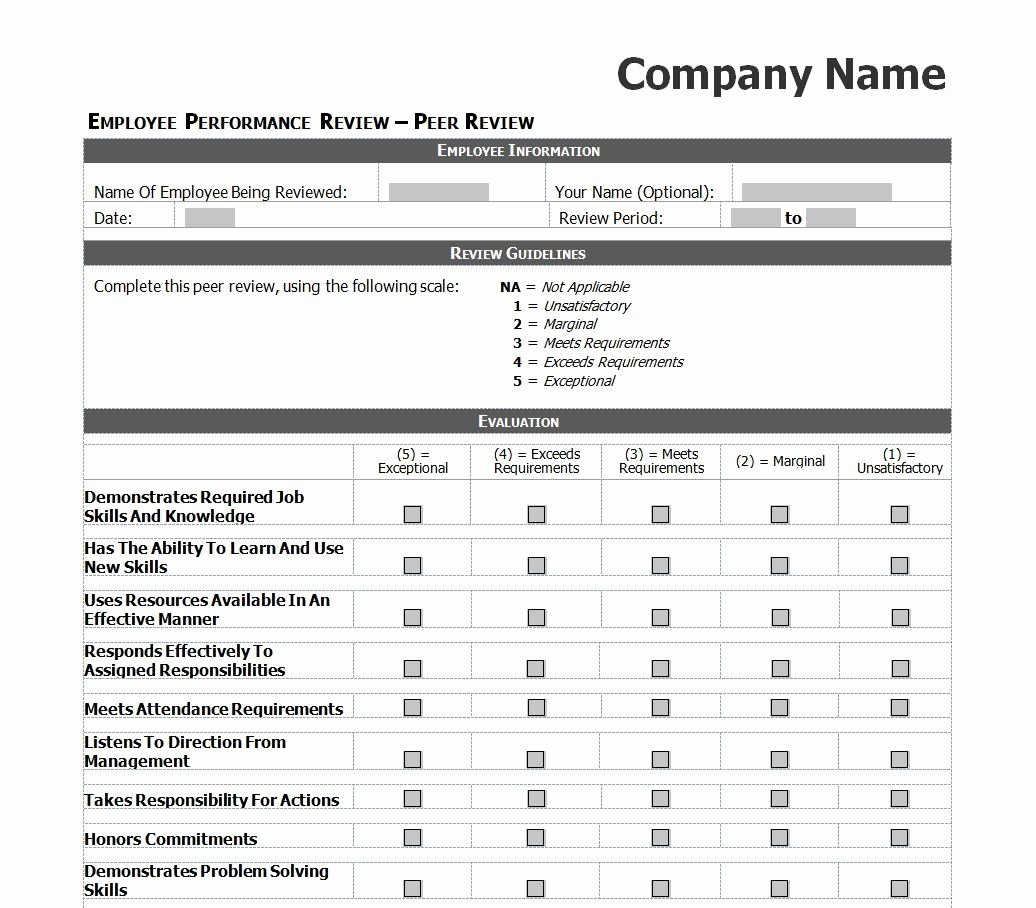 Employee Evaluation Template Excel Images